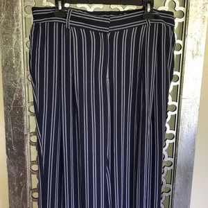 Michael MK Size XL navy/white strip wide leg pant